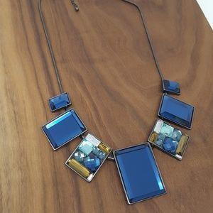 Blue Crystal Statement Bib Necklace